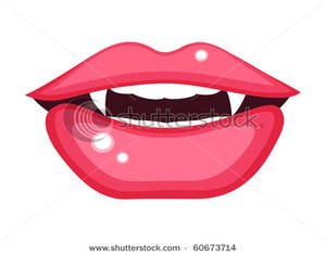Clipart Image  A Vampire S Mouth With Fangs