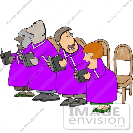 Clipart Of A Small Choir In Purple Robes Singing Hymns From Books In