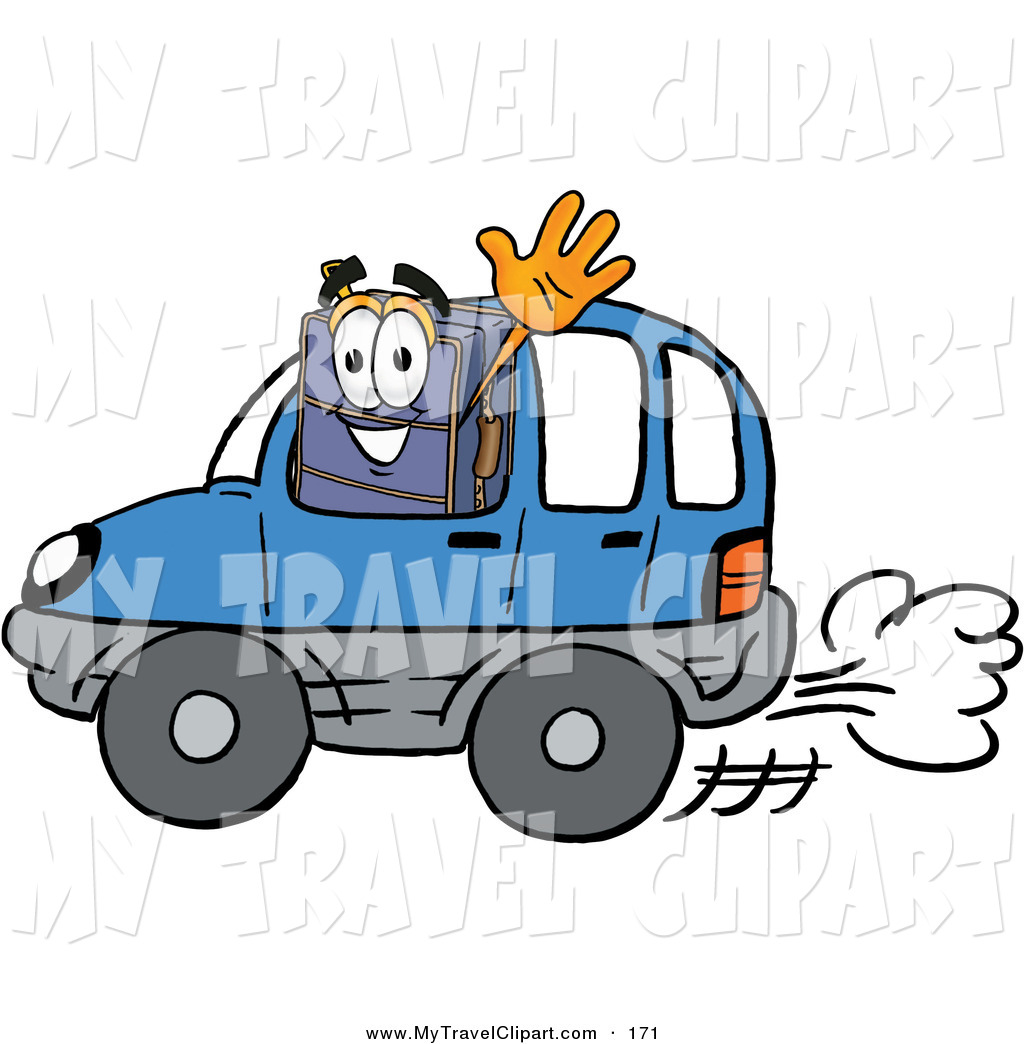 Clipart Of A Suitcase Cartoon Character Driving A Blue Car And Waving
