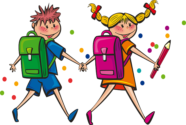 Free School Boy   School Girl Walking Hand In Hand Clip Art