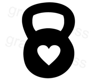 Kettlebell Heart Decal Crossfit Decal Choose Size   Color  Crossfit