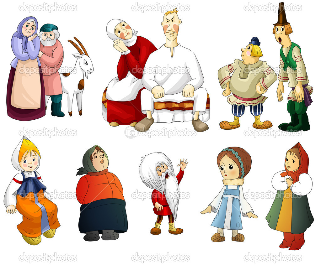 Man Woman Old Young Kids Rural Clipart Cartoon Style Vector White