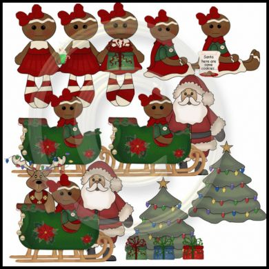 Ms  Gingerbread   Santa Christmas Graphic Holiday Clipart Collection