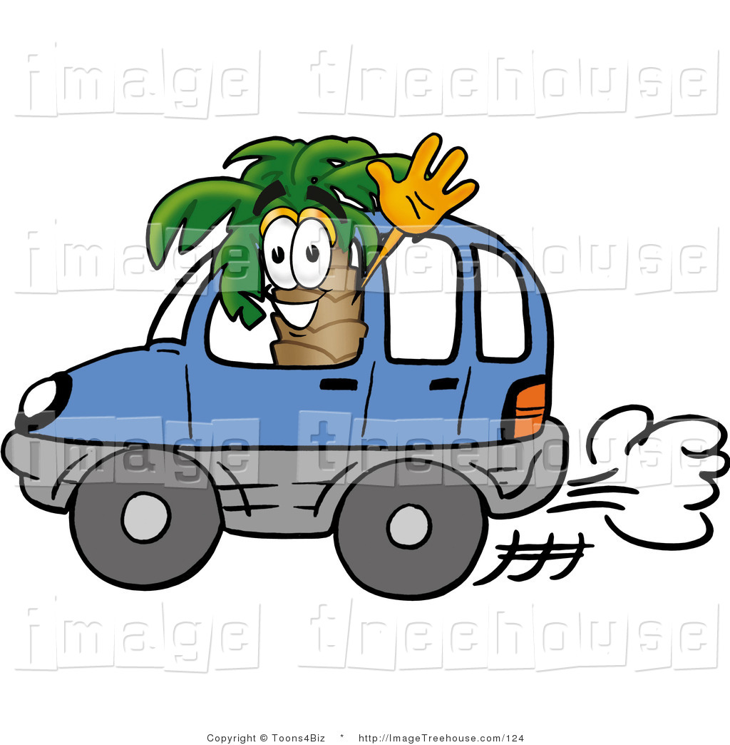 Palm Tree Mascot Cartoon Character Driving A Blue Car And Waving Hello