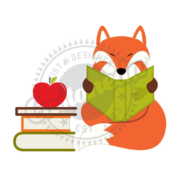 Red Fox Reading Clipart By Gloriacastaneda On Etsy