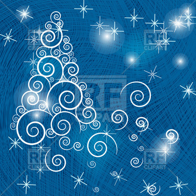 Stylish Christmas Tree Made Of Curls On Blue Abstract Background
