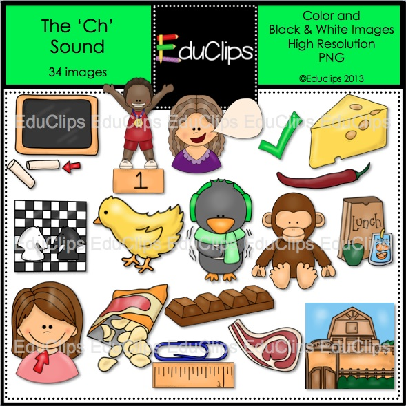 The Ch Sound Clip Art Bundle  Color And B W    Welcome To Educlips