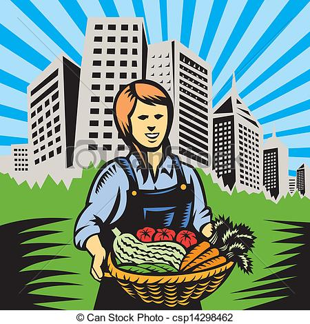 Vector Of Organic Farmer Farm Produce Harvest   Illustration Of Woman
