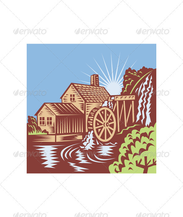 Water Wheel Mill House Retro   Buildings Objects