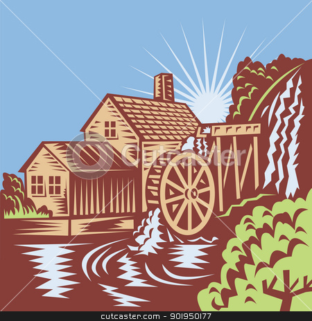 Water Wheel Mill House Retro Stock Vector Clipart Illustration Of A