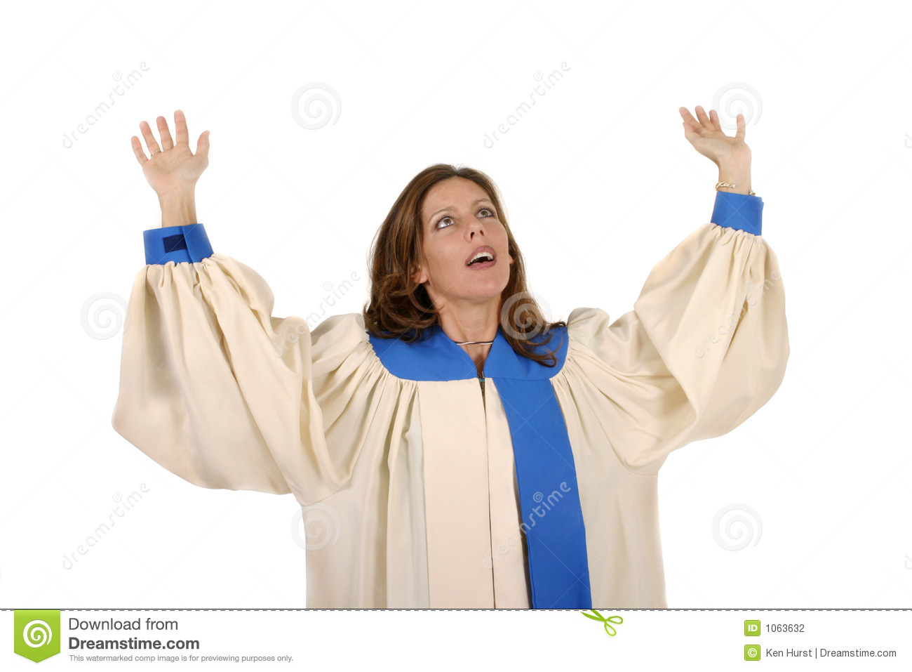 Woman In Church Choir Robe With Her Arms Raised In Charismatic Praise