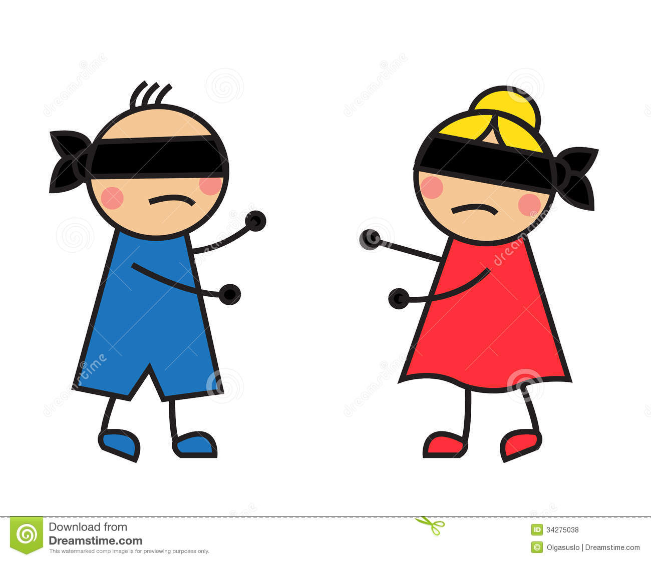 Children Blindfolded Seek Each Other Royalty Free Stock Photos   Image
