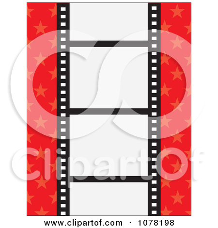 Clipart Film Strip With Blank Frames On A Red Starry Background