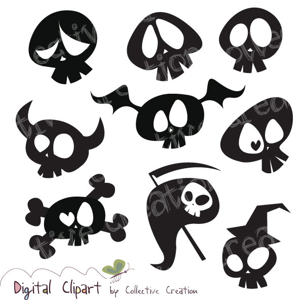 Cute Cartoon Skull Silhouette Clipart By Collectivecreation