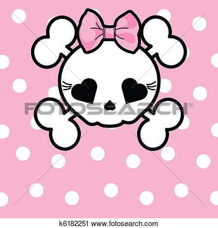 Cute Skull With Bow View Large Clip Art Graphic