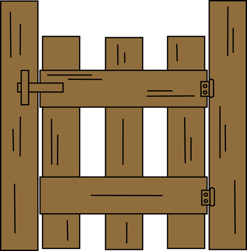 Gate Clip Art Image   Brown Wooden Gate
