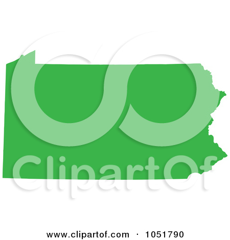 Green Silhouetted Shape Of The State Of Pennsylvania United States By