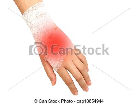 Hand Injury  Wrist Strain  Sprained In White Bandage On Isolate