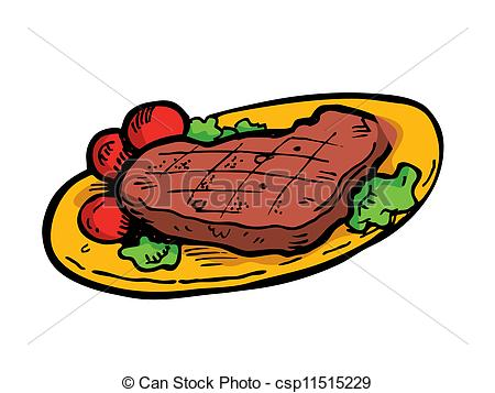 Illustration Of Steak On A Plate Doodle Csp11515229   Search Clipart