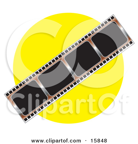 Negative Photo Film Strip Over A Yellow Background Clipart
