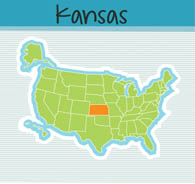 Us Map State Kansas Square Clipart Image