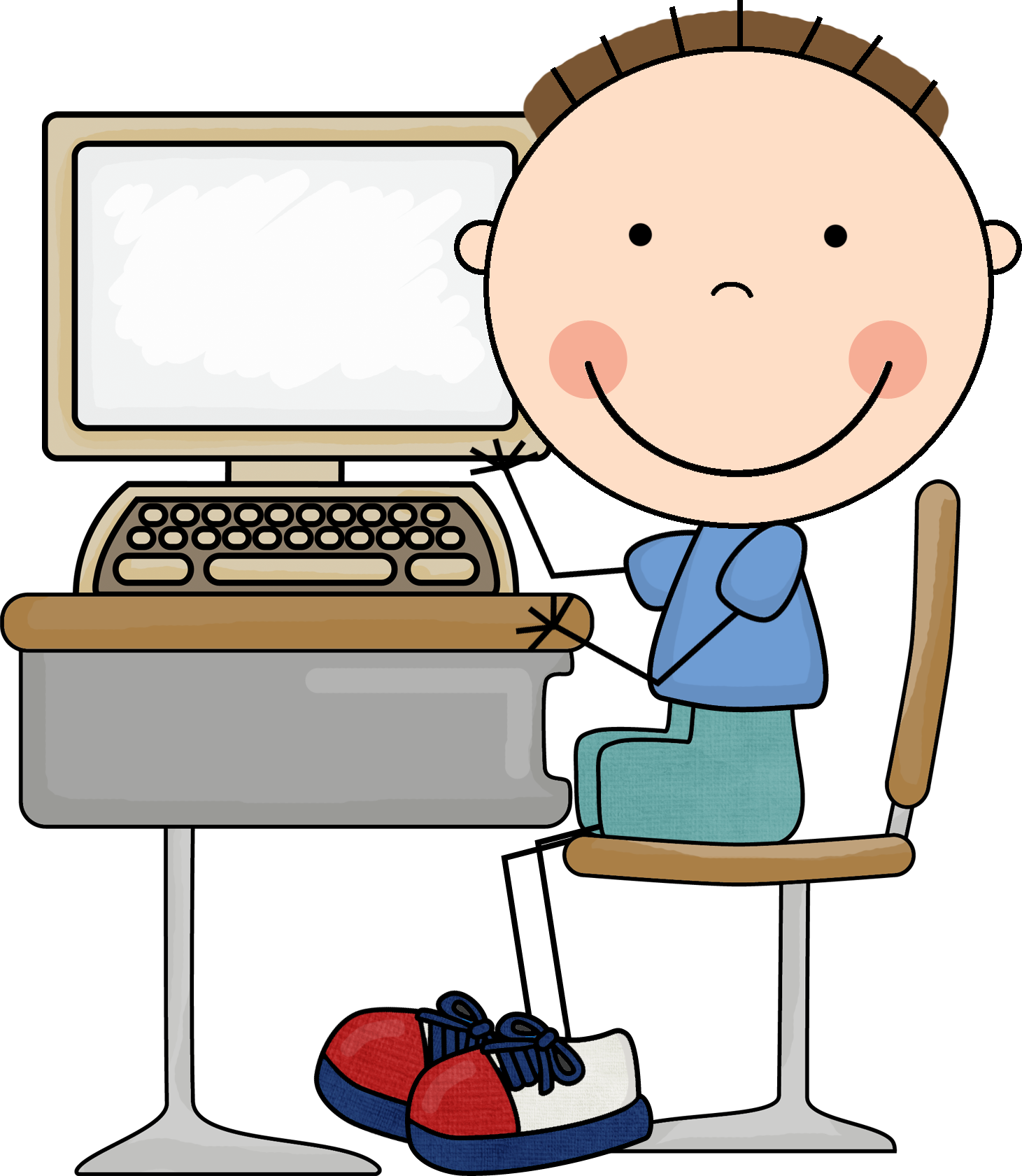 Boy On Computer Clipart - Clipart Kid