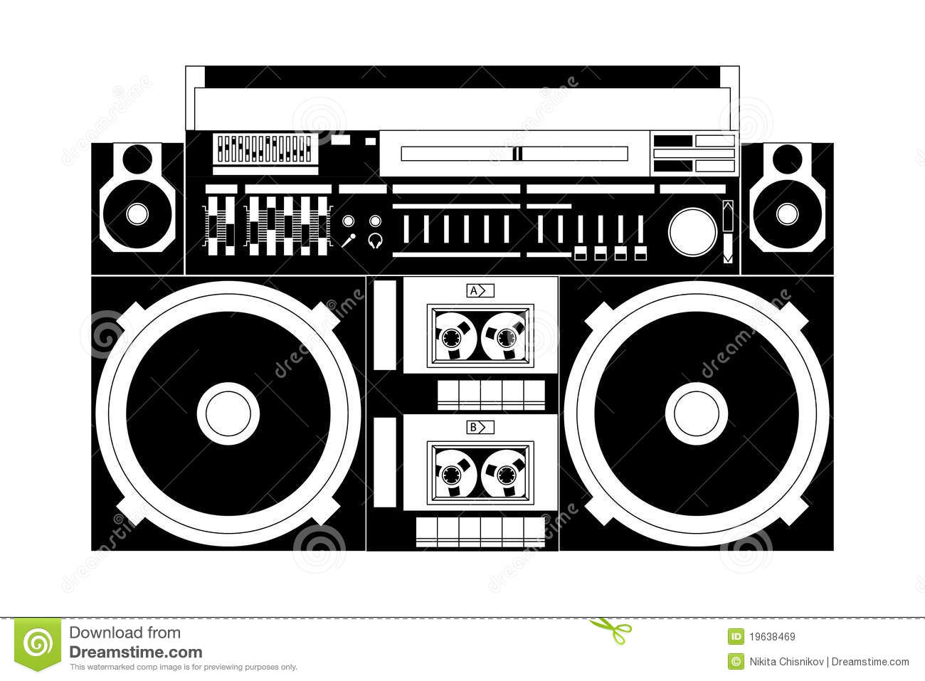 Boombox Black And White Clipart - Clipart Suggest