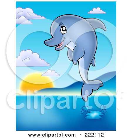 Dolphins Jumping In The Sunset Coloring Pages