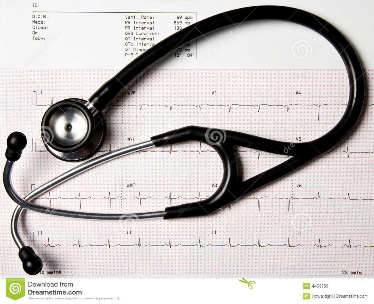 Ekg And Stethoscope Royalty Free Stock Images   Image  4453759