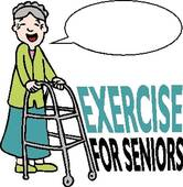 Exercising Senior Lady With Walker   Clipart Graphic