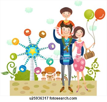 Family At Amusement Park  Fotosearch   Search Eps Clipart