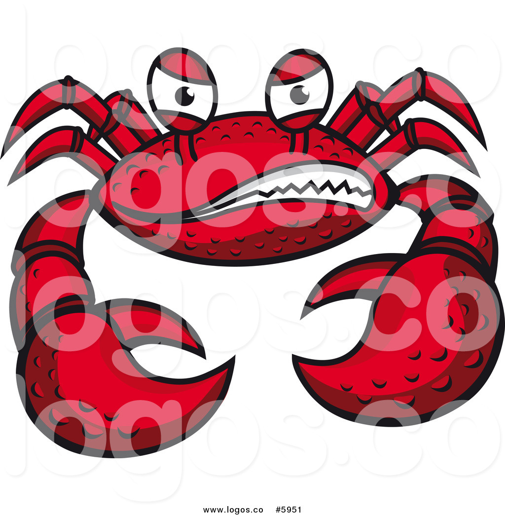 Larger Preview  Royalty Free Vector Of A Grinning Mean Crab Logo By
