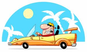 Rich Clipart Image   Wealthy Man Driving A Fancy Luxury Car In A Posh
