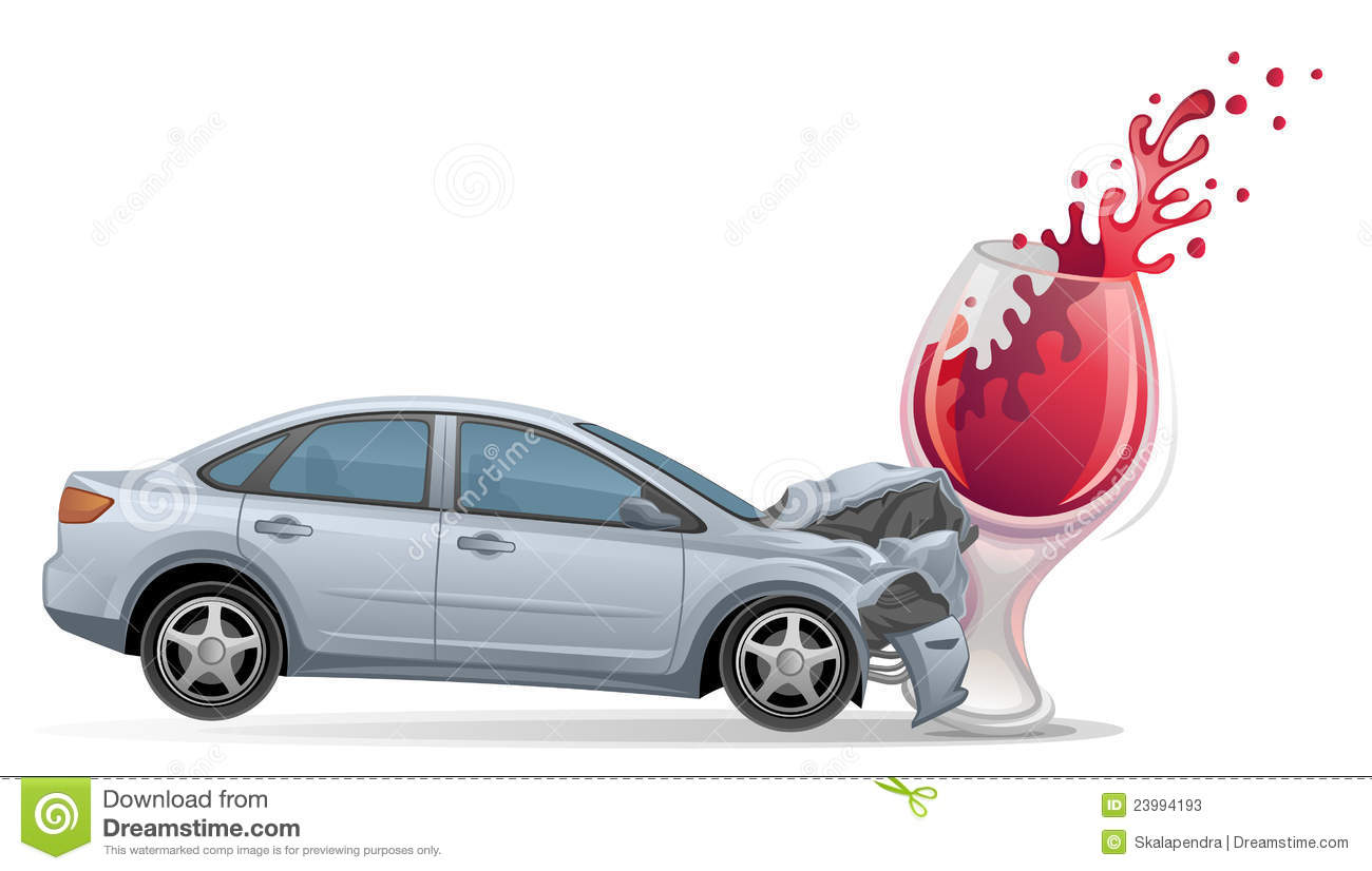 Silver Car Crashes Into A Wine Glass