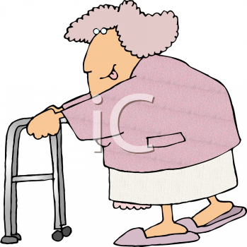 This Old Lady With A Walker Clip Art Image Is Available As Part Of A