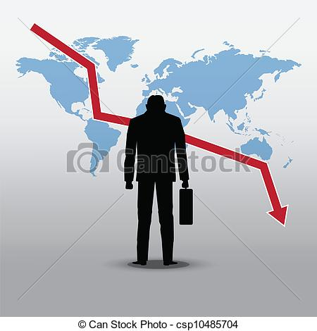 Vector   Stock Market Crash And Businessman   Stock Illustration