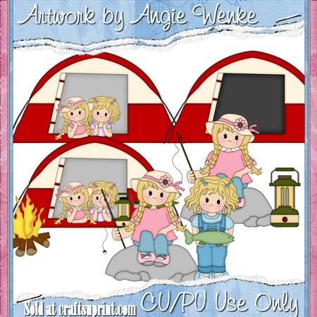 Camping Fun Girls Blonde Clipart By Angela Wenke