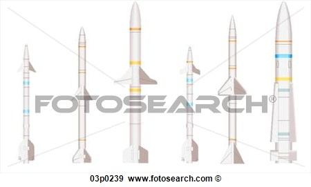 Clip Art Of Air To Air Missiles 03p0239   Search Clipart Illustration