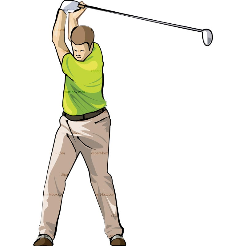 Clipart Golf Player Swing 4   Royalty Free Vector Design