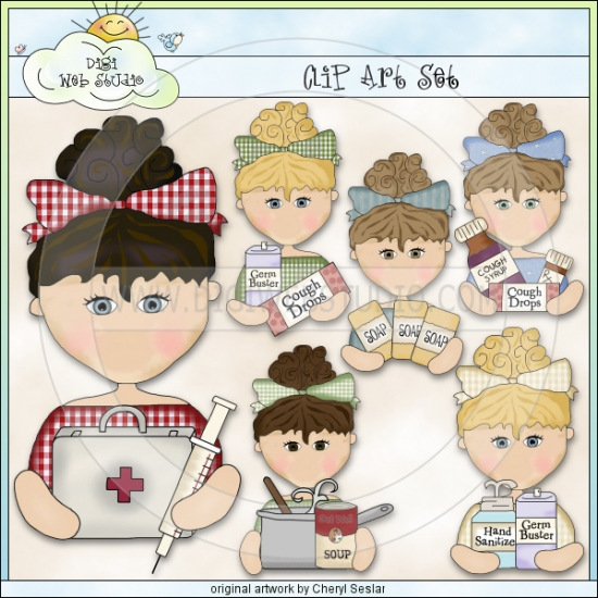Flu Season Beauties 1   Exclusive Clip Art By Cheryl Seslar   Digi Web