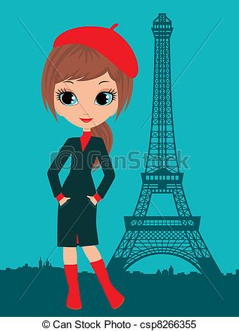 Vector   Pretty Girl In The Paris   Stock Illustration Royalty Free