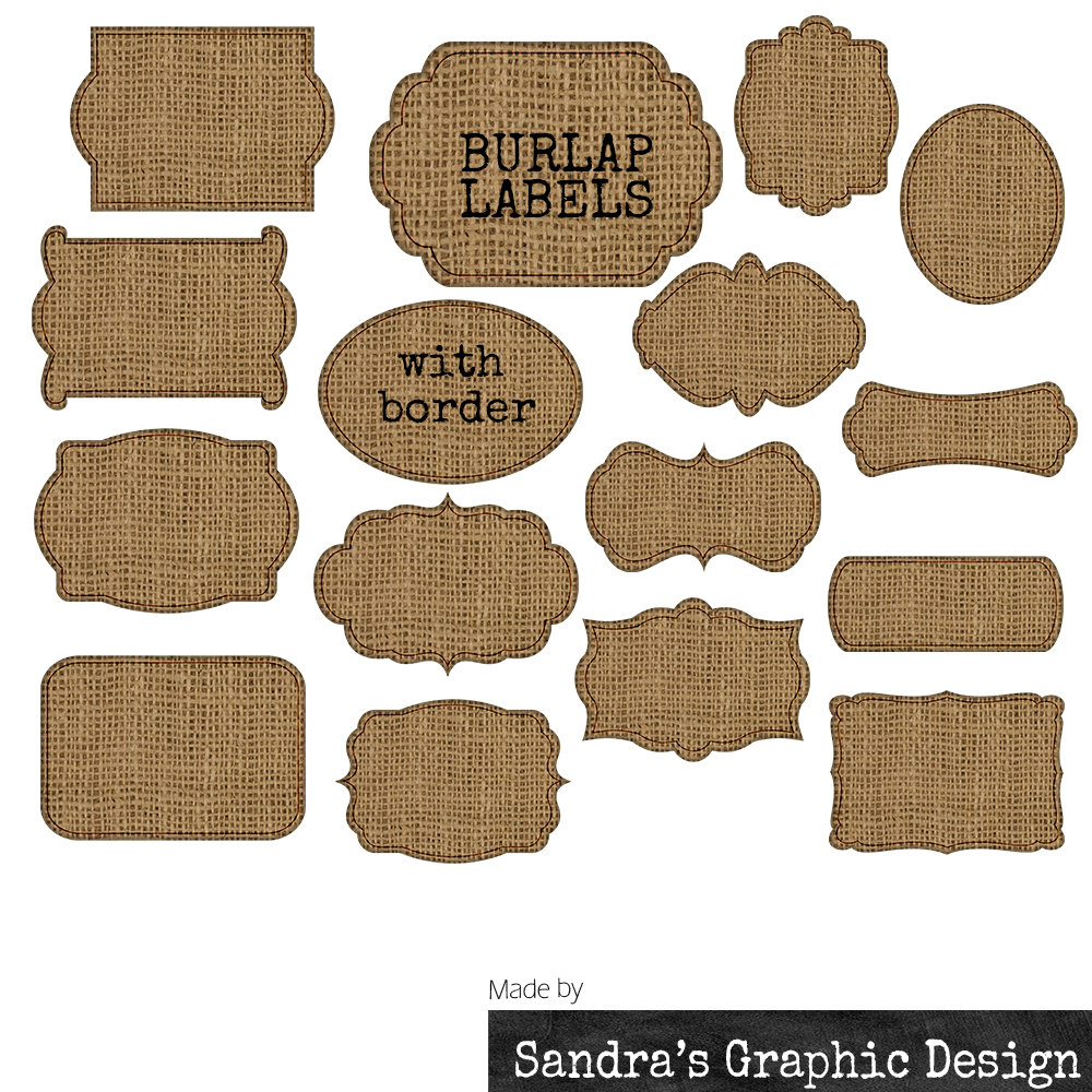 Art   Burlap Tags  With 16 Burlap With Black Border Tags Clipart