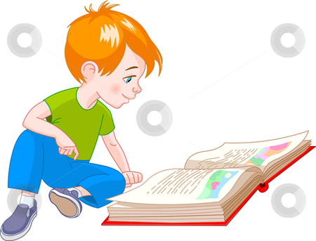 Book Boy Stock Vector Clipart Boy Sitting On Floor And Reading A Book