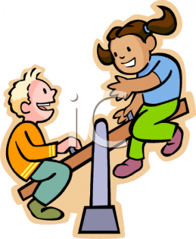 Boy And Girl   Friends On A See Saw   Royalty Free Clipart Image