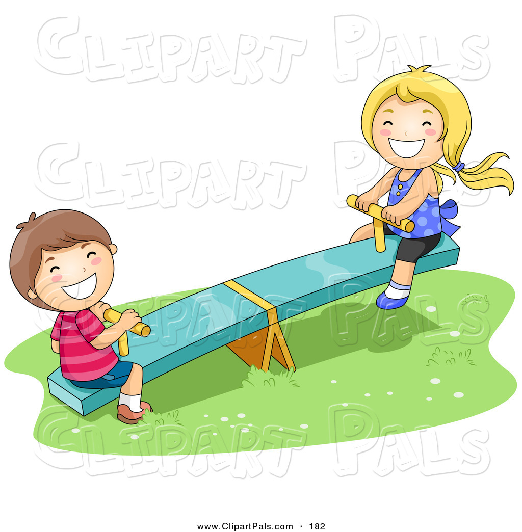 Boy And Girl Playing On A See Saw In The Park African American Boy