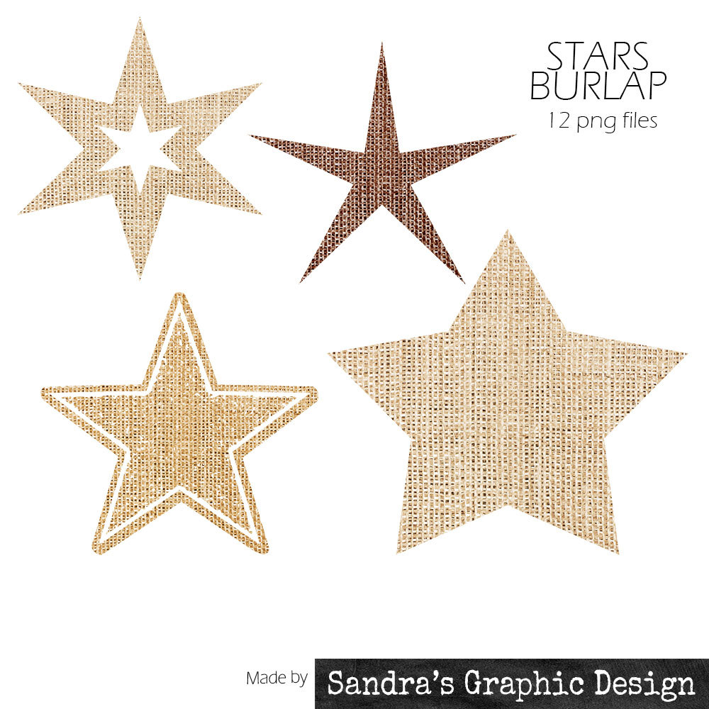 Burlap Clipart   Star Silhouet  With 12 Burlap Stars  4 Shapes 3