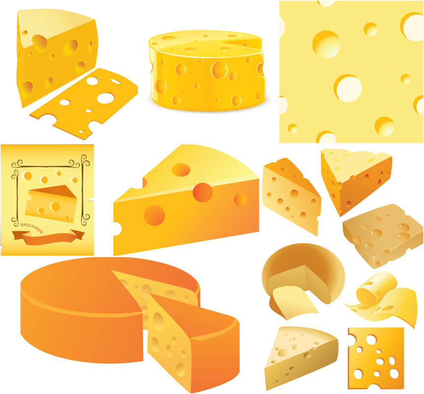 Cheese Vector Clipart Collection Of 7 Sets With Vector Cheese Clipart