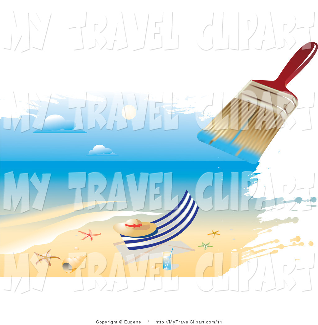 Clipart Of A Paintbrush Painting An Ocean Scene Of A Hat On A Beach