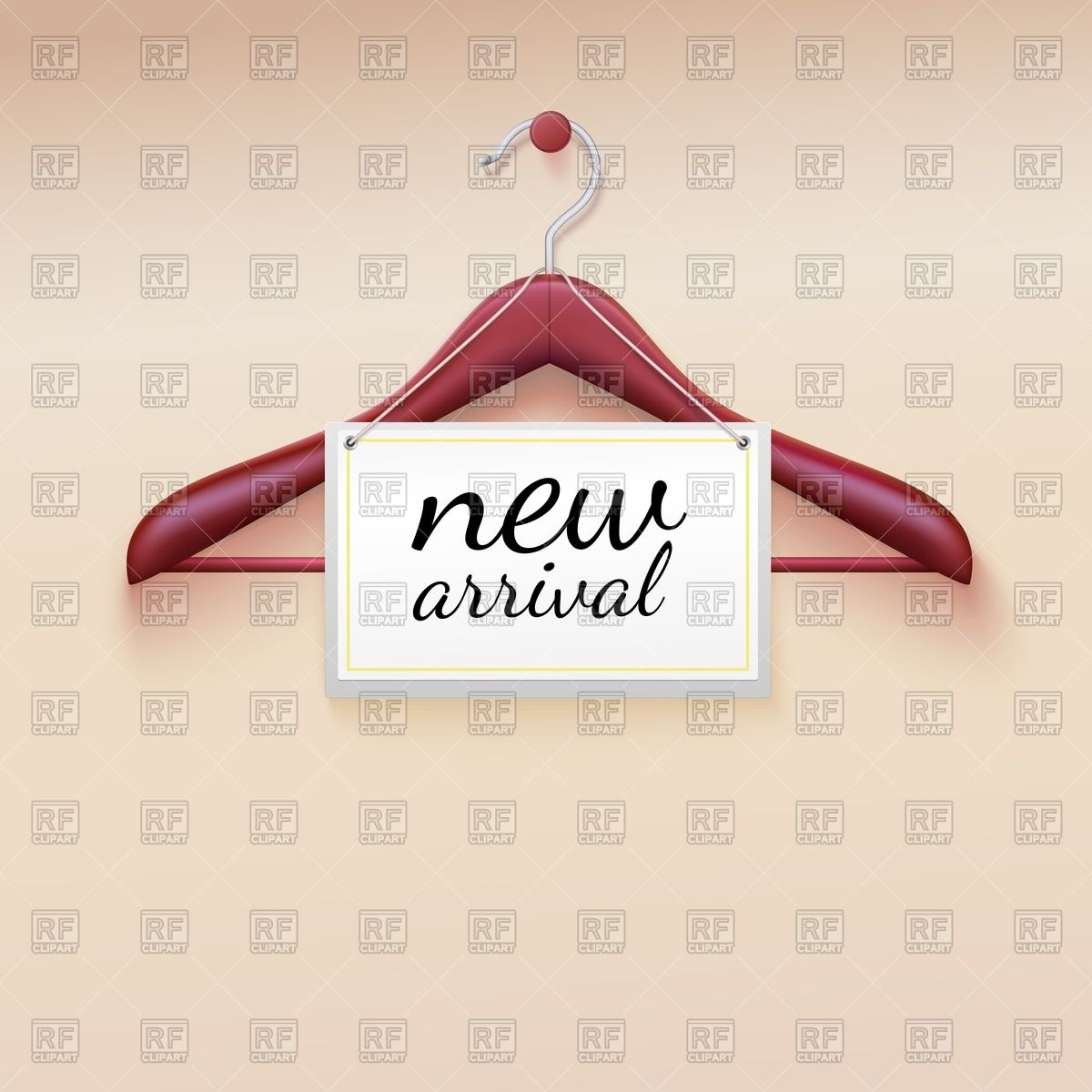 Clothes Hanger With Tag New Arrival Objects Download Royalty Free