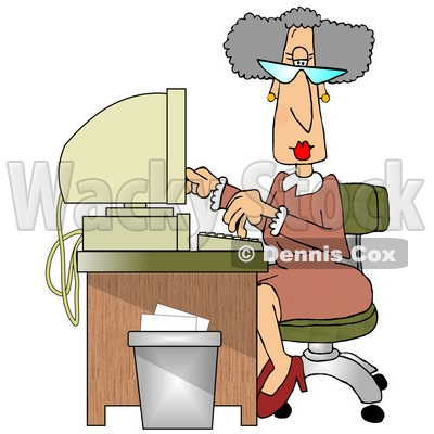 Computer Desk In An Office Clipart Illustration   Dennis Cox  11199